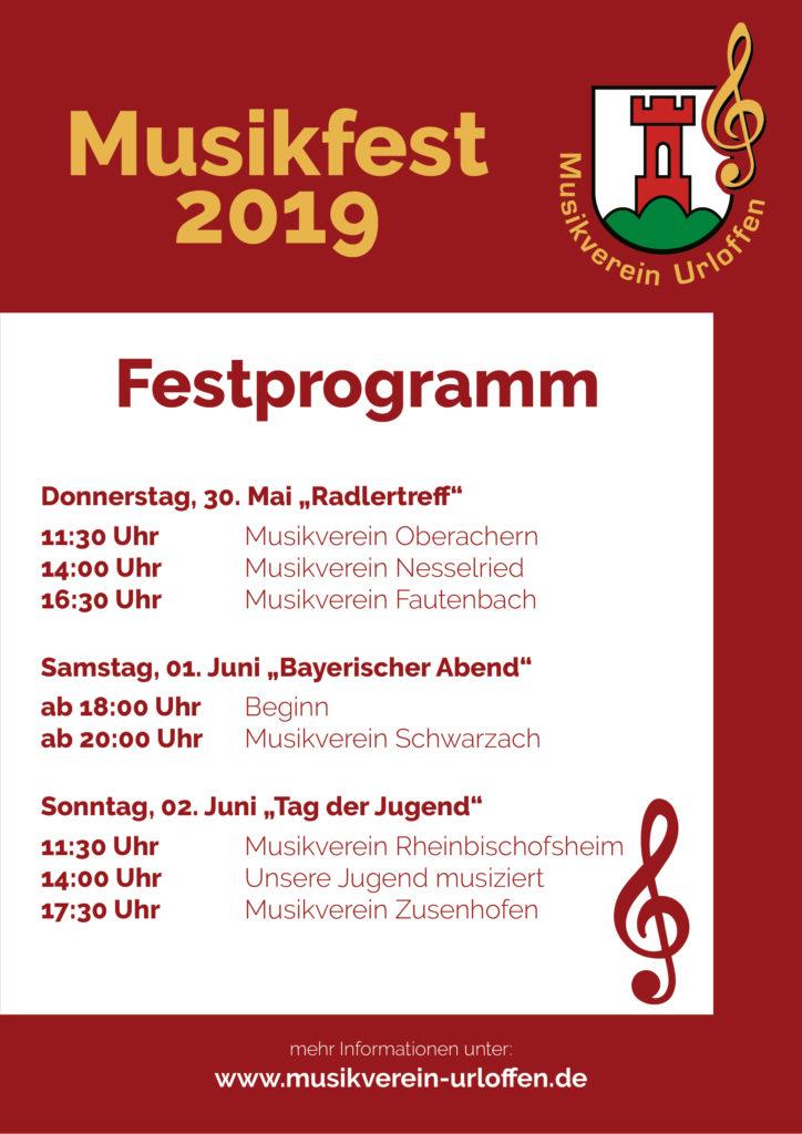 """Werbeflyer Musikfest - Donnerstag, 30. Mai Radlertreff - Samstag, 01. Juni Bayerischer Abend"""" - Sonntag, 02. Juni """"Tag der Jugend"""""""